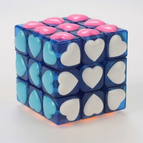 YJ Heart tiled 3x3x3 transparent blue