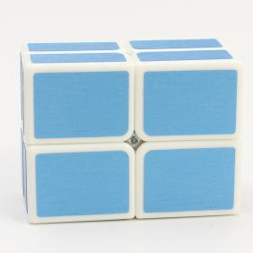 HelloCube Flat 2x2 White Body with blue stickers
