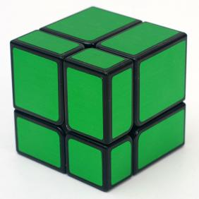 HelloCube Mirror Block 2x2 with green stickers