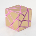 Ninja 3x3 Ghost Cube Pink with Golden stickers